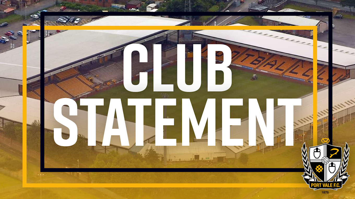 Club Statement: Manager and Chairman - News - Port Vale